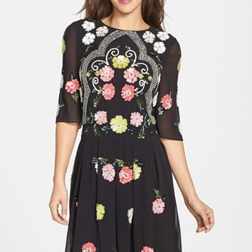 Women's Needle & Thread 'Locket' Floral Sequin Dress,