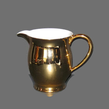 Vintage Pitcher, Gold And White Pitcher, Gold Tone Pitcher, Water Pitcher, Home Decor, Vase, Table Decor, Drink Pitcher, Pitcher