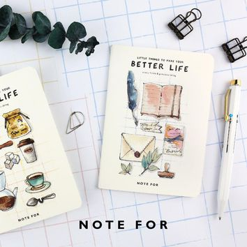 4pcs/lot  Japanese Cute  NOTE FOR BETTER LIFE A6 Notebook with Lines Pocket Notepad Stitching binding Portable School Notebook