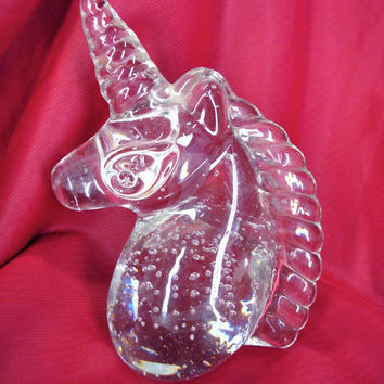 Vintage Unicorn Paperweight / 1980s Bubble Unicorn Glass Figurine