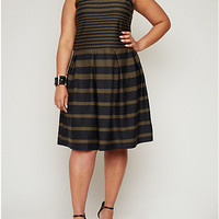 Plus-Size Striped Skater Dress