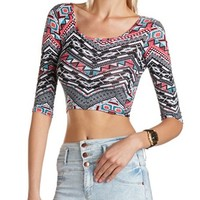 3/4 SLEEVE PRINTED CROP TOP
