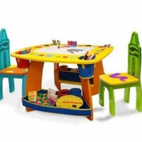 Kids Table And Chairs Set Crayola Wooden Dry Erase Table Top Chalkboard Storage