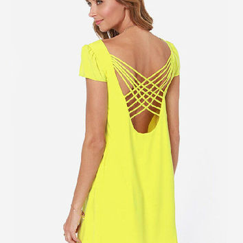 Strappy Chiffon Short Sleeve A-line Mini Dress