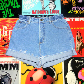 High Waisted Denim Shorts - 90s Stone Washed Jean Shorts - High Waist, Cut Off, Frayed, Rolled Up, Elastic Waist LL BEAN Shorts Size 10 M