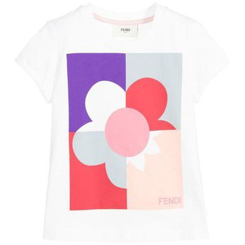 NOV9O2 Fendi Girls Colorful Floral T-shirt