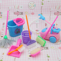 9pcs/set Home Cleaning Sets For Barbie 1/6 Doll
