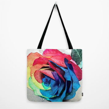 Beautiful tote bag Lunch bag Rainbow rose bag with black strap Artistic print of rainbow rose on ink strokes