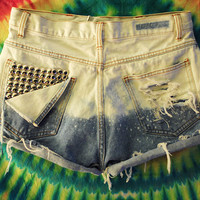 Ombre Studded High Waist Shorts
