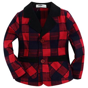 new arrival red plaid woven flannel cotton 100% toddler boy blazer BB151203B