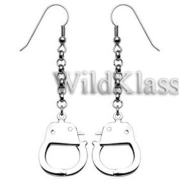 316L Hook Earrings with Dangling Handcuffs (Sold in Pairs) Tiny Stud Earrings Jewelry Piercing