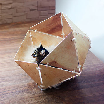 Geobed. Modern wooden icosahedral bed for cats and small dogs.