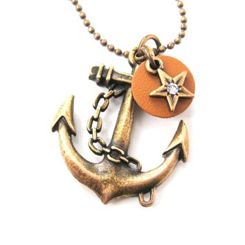 Classic Anchor Shaped Nautical Themed Charm Necklace in Bronze | DOTOLY