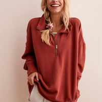 Aerie Quarter Zip Tunic Sweatshirt, Deep Burgundy