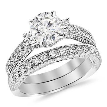 CERTIFIED | 1.88 Carat t.w. ROUND Shape/Center Three Stone Vintage With Milgrain & Filigree Bridal Set with Wedding Band & CZ Engagement Ring