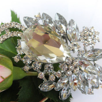 "Swarovski Crystals Bridal Brooch ""Spring is Coming"", Wedding Brooches, Brooch Pin, Rhinestone Brooches, Vintage Brooches, Wedding Jewelry"