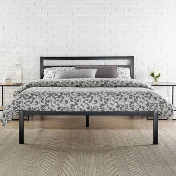 "Modern Studio 14"" Metal Platform Bed with Headboard, Multiple Sizes - Walmart.com"