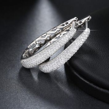 White Gold Plated Hoop Earring Micro Pave Set Signity CZ Cubic Zircon for Women