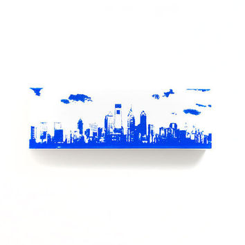 Philadelphia Skyline II Canvas (White with Blue) Screenprint/Painting, Philadelphia Wall Art, Urban Art, Philadelphia Print