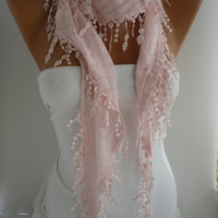 Pink  Shawl and Scarf  Headband - Cowl with Lace Edge Summer by DIDUCI