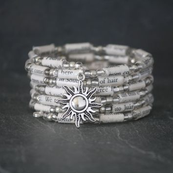 Under the Tuscan Sun Book Bead Charm Bracelet in Silver