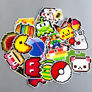 TD ZW 25Pcs/lot Cartoon Mario Pixel Style Sticker For Car Laptop Luggage Skateboard Backpack Tables Case Decal Kids Toy Sticker