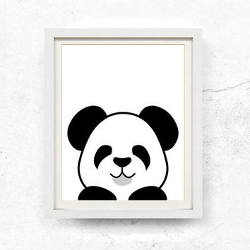 Panda illustration, Peekaboo, Black & white, Nursery wall art, Monochrome, Panda printable, Digital download, Kids panda print, 8x10, 11x14