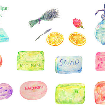 Watercolor clipart home made soap dry lanvender printable instant download for scrapbook cards invitations shop banner kitchen bathroom deco