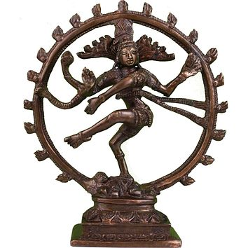 Handcarfted Hindu God Shiva Nataraja Dancing God Brass Statue Figurine Sculpture Bronze Finish Home Decor 8 Inches High