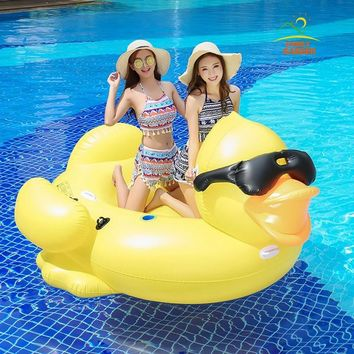 Giant Inflatable Sunglass Yellow Duck Swimming Rider On Pool Toys Floats Fun Water Raft Air Mattress Boia Piscina