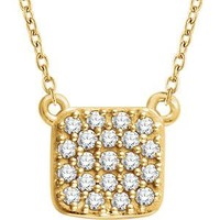 Amanda Rose 14kt Yellow Gold Diamond Square Cluster Necklace on an 18 in. chain