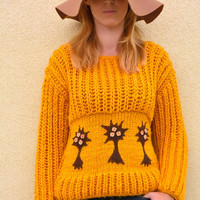 Stylish sweater, hand knitted sweater with felt trees, M size ,  womens clothing