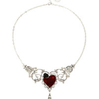 LOVEsick Red Heart Black Rose Statement Necklace
