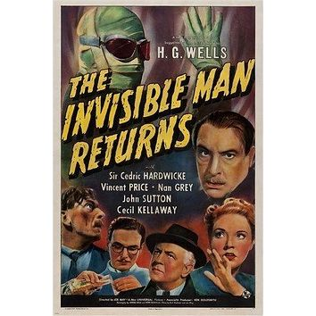 vintage horror movie poster H.G. WELLS - THE INVISIBLE MAN RETURNS 24X36 new