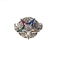 White Gold Gemstone Eastern Star Ring