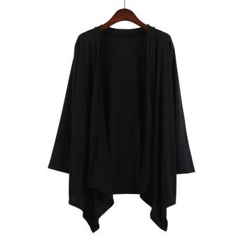 Women Autumn Cardigan 2017 Cotton Black Solid Asymmetric Tops Long Sleeve Long Shirts Tunic Kimono Cardigans Coat