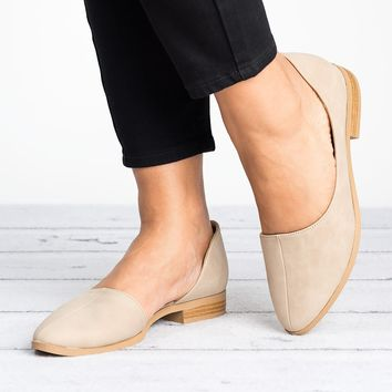 D'Orsay Distressed Leather Flats - Taupe