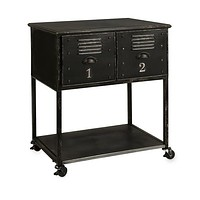 Alastor Black Metal 2-Drawer Rolling Cart