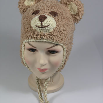 Crochet Teddy Bear  Hat - Baby Bear Hat - Earflap Beanie - Animal Hat - Farm Animal Hat - Newborn Photo Prop - Crochet Bear Hat - teddy bear