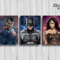 superhero decor justice league poster set of 3 superman print batman wall art wonder woman decor dc comics art