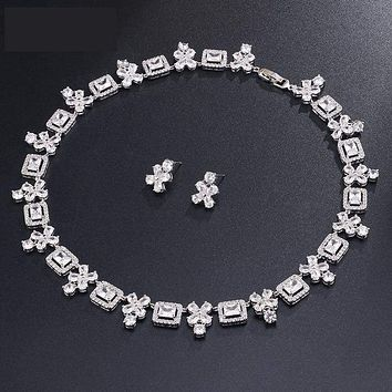 Brilliant Square & Flower Zirconia Earring Necklace  Bridal  Jewelry Sets