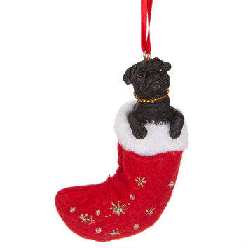 Pug in Stocking Christmas Ornament