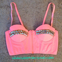 Studded Bustier Bra Top Peach- Zipper Front - Gold or Silver or Black Studs -