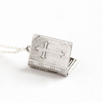 Vintage Sterling Silver Cross Book Locket Necklace - 1940s WWII Era Religious Lord's Prayer Bible Small Pendant Christian Jewelry