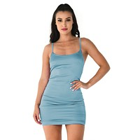 Shine On Satin Light Blue Faux Silk Sleeveless Spaghetti Strap Round Neck Spaghetti Strap Bodycon Mini Dress