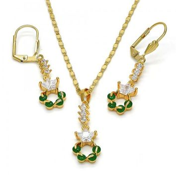 Gold Layered 10.236.0005 Necklace and Earring, Star Design, with White and Green Cubic Zirconia, Polished Finish, Gold Tone