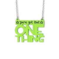 One Direction One Thing Bright Green Pendant Necklace – Claire's