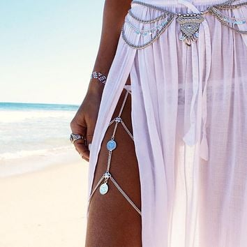 Boho Gypsy Style Coin Long Chain Leg Jewelry