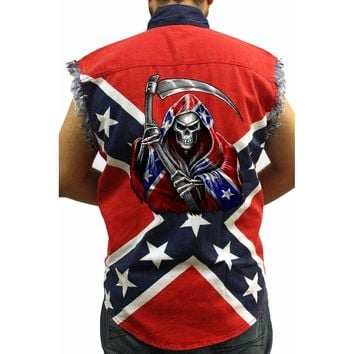 Men's Confederate Rebel Flag Sleeveless Denim Shirt Confederate Flag Grim Reaper Southern Pride (XXL)