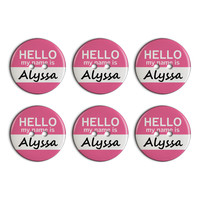 Alyssa Hello My Name Is Plastic Resin Button Set of 6